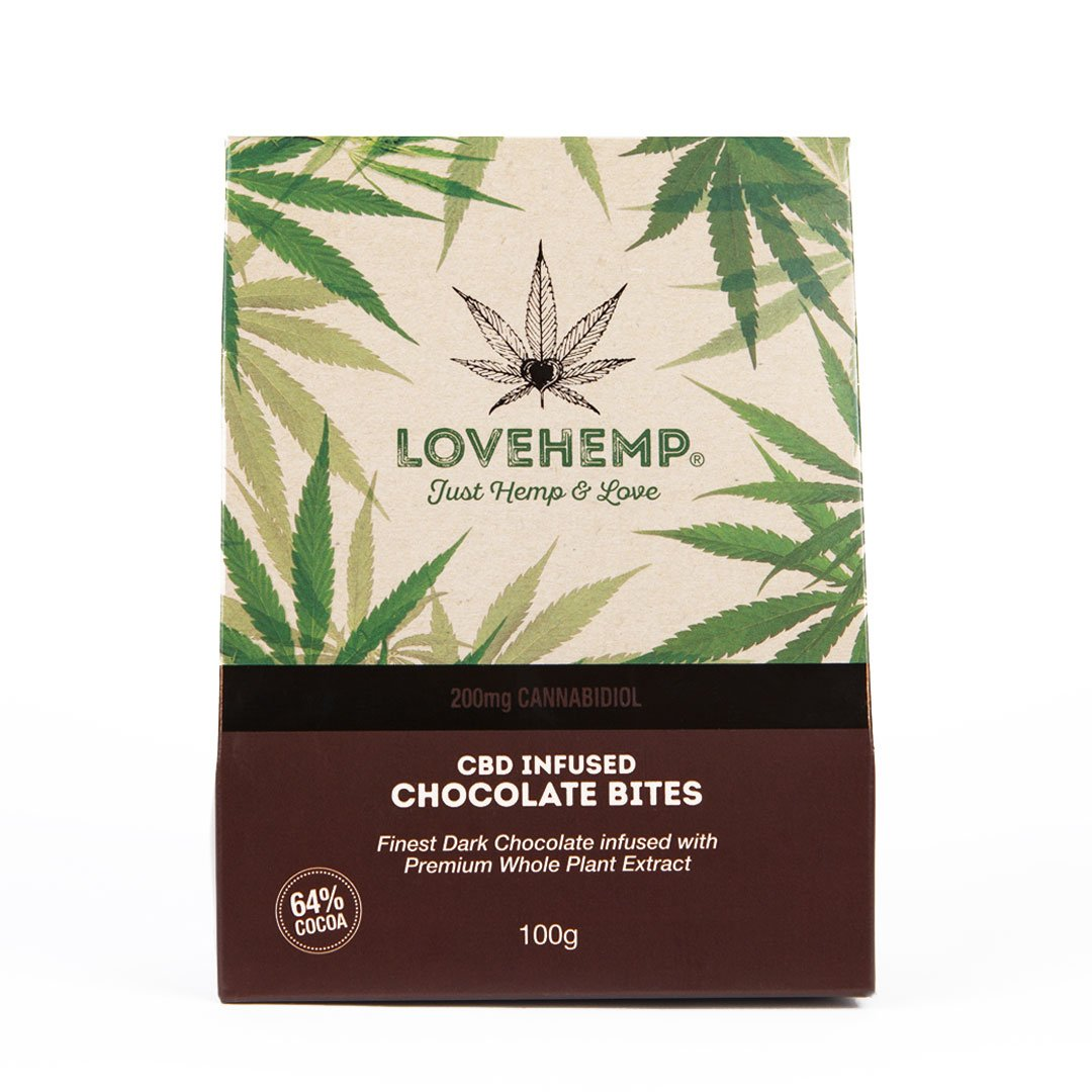 CBD dark chocolate bites   LOVEHEMP